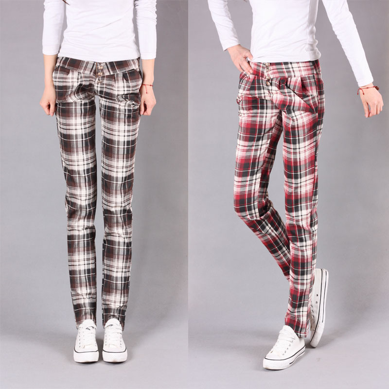 2013-spring-and-summer-mid-waist-plaid-pants-mere-loin-female-long-trousers-casual-harem-pants